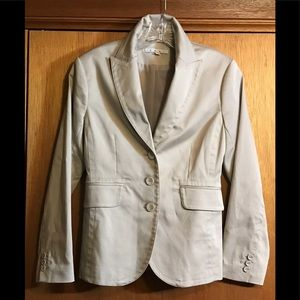 Rich CAbi Polished Cotton Khaki Blazer Sz 2